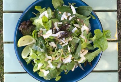 Lettuce and Coconut Salad with Toasted Pine Nuts