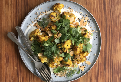 Spiced Baked Cauliflower with Puffed Quinoa