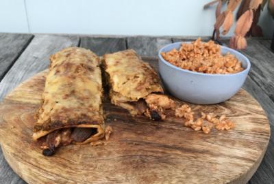 Chicken & Black Bean Enchiladas with Mexican Rice