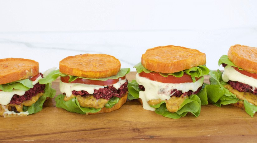 Beetroot & Blackbean burgers