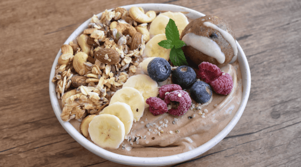 Choc Almond Butter & Hemp Protein Smoothie Bowl