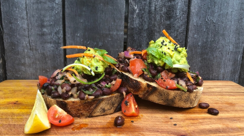 Smoky Black Beans With Smashed Lime Avocado